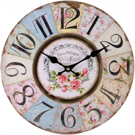 Patchwork Floral Large Wooden Wall Clock